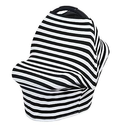 Chianrliu Baby Mum Breastfeeding Cover Nursing Apron Poncho Shawl Car Seat Canopy Cover - Ash Black Stripe