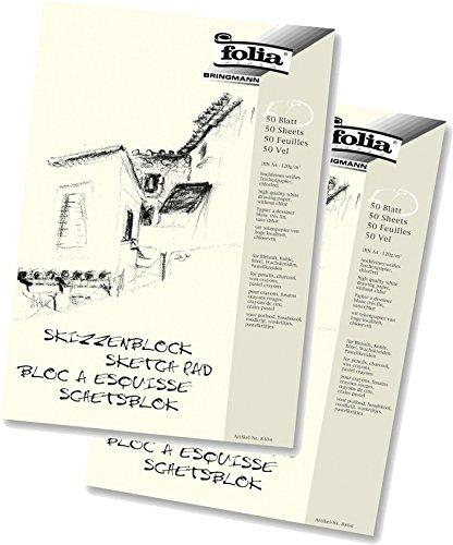 Doppelpack Folia 8304 - Skizzenblock, 120 g/m², DIN A4, 50 Blatt
