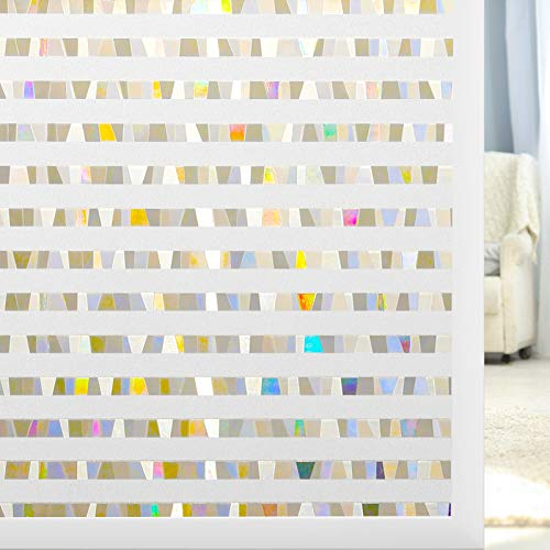 rabbitgoo Colorful Stripe Pattern Frosted Rainbow Window Film, Window Glass Cling for Home Office, Removable Window Tint Film, 35.4 x 78.7 inches