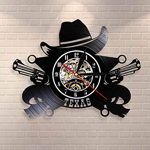 Reloj de pared del vaquero de Texas Símbolo del horizonte del oeste americano Reloj de pared con registro de vinilo Wild West Pistola de vaquero vintage Decoración de la pared occidental