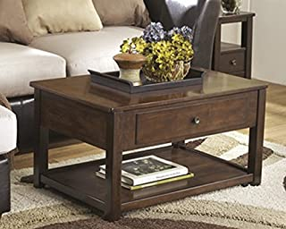 Ashley Furniture Signature Design - Marion Lift Top Coffee Table - 1 Drawer and 1 Fixed Shelf - Contemporary - Dark Brown