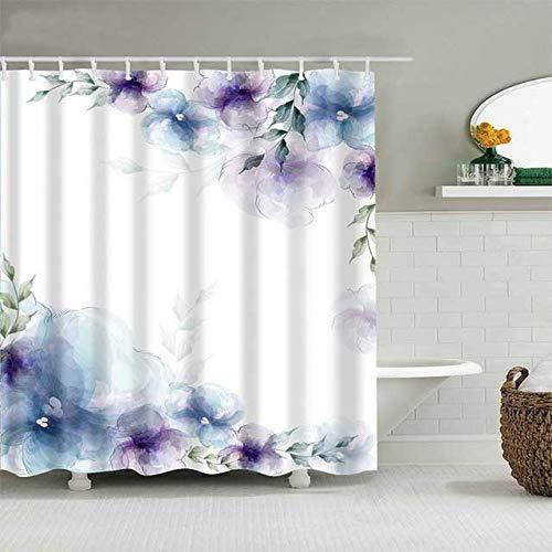 Blauer lila Blumen-Duschvorhang mit 12 Vorhangringen, einfaches modernes wasserdichtes Badezimmerdekor-Stoffset aus Polyester, beinhaltet 12 Haken, farbecht, wasserdicht, 180 * 180 cm