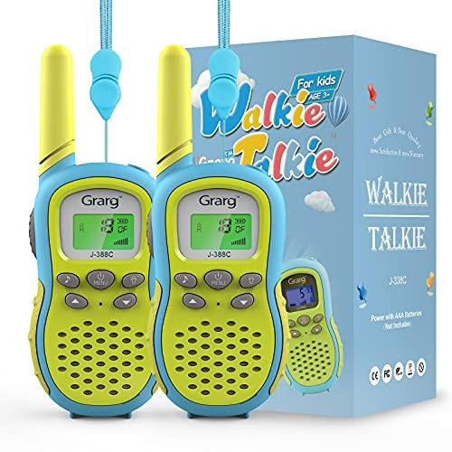 Grarg Walkie Talkie para Niños,Walky Talky Niños Juguetes para 3-12 Años,3KM Largo Alcance 16 Canales Linterna LCD VOX 10 Tonos de Llamada Walkie Talkie Juguete para Actividades Externas Camping- 2PCS