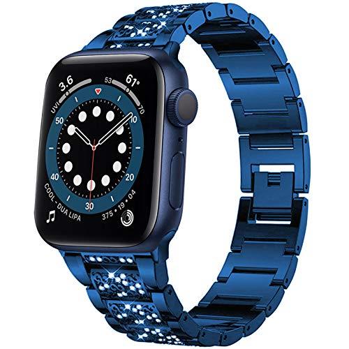 Miimall - Cinturino di ricambio per Apple Watch serie 1/2/3/4/5/6/SE, 44 mm, 42 mm, in acciaio inossidabile, lucido, con strass, per Apple Watch serie 1/2/3/4/5/6/SE, 42 mm, 44 mm, colore: blu