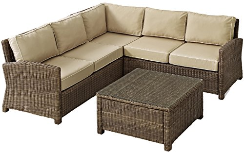 Crosley Furniture Bradenton 4-Piece Outdoor Wicker Seating Set with Cushions - Sand