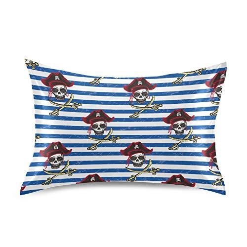 HaJie Funda de almohada de satén con diseño de calavera pirata y rayas azul marino 100% poliéster, funda de almohada para cabello y piel, tamaño estándar 50,8 x 66 cm, 1 unidad