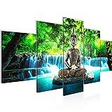 Cuadro en LienzoBuda Feng Shui 200 x 100 cm - XXL Impresión Material Tejido no Tejido Artística Imagen Gráfica Decoracion de Pared -5 piezas - Listo para colgar -503551b