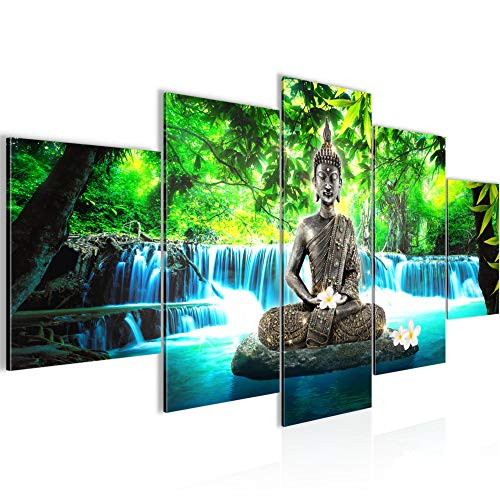 Runa Art Bilder Buddha Wasserfall Wandbild 200 x 100 cm Vlies - Leinwand Bild XXL Format Wandbilder Wohnzimmer Wohnung Deko Kunstdrucke Blau 5 Teilig - Made IN Germany - Fertig zum Aufhängen 503551b