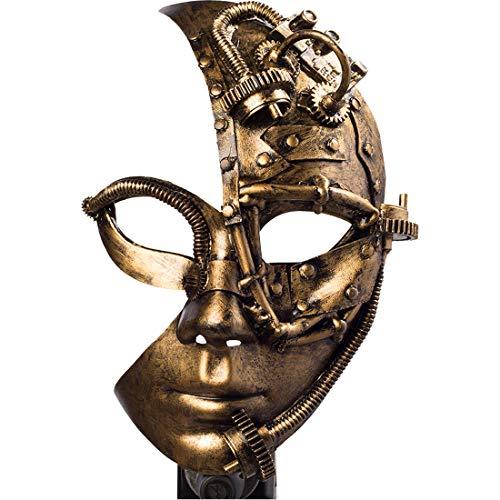 Amakando Máscara Mitad del Rostro con Engranajes para Dama Estilo Steampunk/Bronce/Accesorio para Disfraz Estilo Retro-Futurista Fiestas temáticas y Carnaval