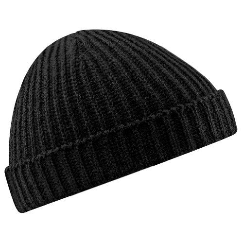Beechfield Retro Trawler Winter Beanie Hat Cappellino da Baseball, Nero, Etichettalia Unica Unisex-Adulto