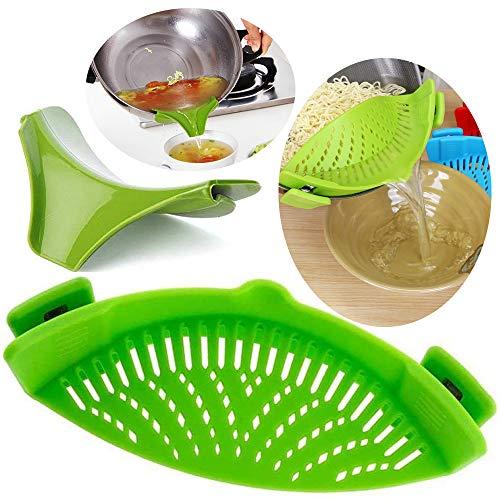 tingz Filtro a Scatto con Filtro da colino in Silicone con Clip,Imbuto per zuppa Plus per Materiale di Dimensioni universali FDA/Resistente al Calore