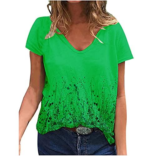 Camiseta de verano para mujer, estilo vintage, de gran tamaño, de estilo urbano, deportiva, de manga corta, para verano, con cuello en V, Mujer, verde, extra-large