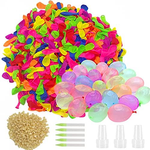 Funny House 1000 Pcs Globos de Agua, Magic Water Balloons Bombas de Agua Incluye 1000 Globos, 5 Aplicadores de Juguete y 1000 Bandas de Goma
