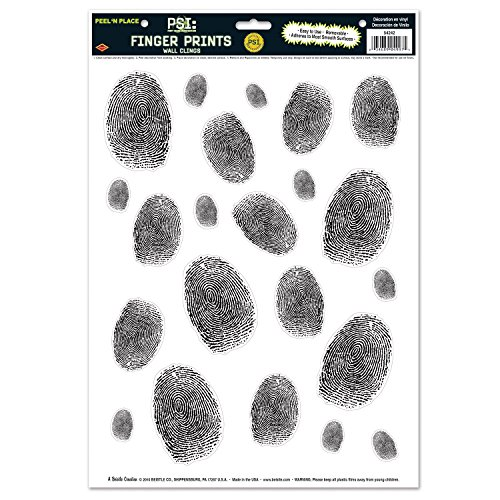 Beistle 54242 Fingerprints Peel 'N Place Sheet, 12 by 17-Inch, Black/White