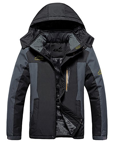 4How Men's Mountain Jacket Waterproof Hooded Fleece Ski Coat Outdoor Black Size 2XL