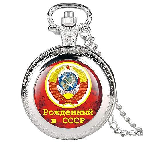 SWAOOS CCCP Rusia Emblema Comunismo URSS Insignias Soviéticas Martillo De Hoz Reloj De Bolsillo De Cuarzo Colgante De Collar para Hombres Mujeres