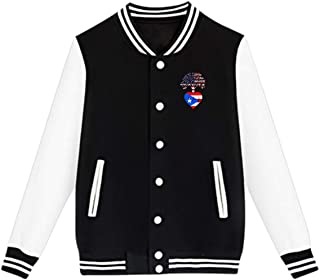 WFIRE Baseball Jacket Puerto Rico US Root Heartbeat Custom Fleece Varsity Uniform Jackets Coats for Youth