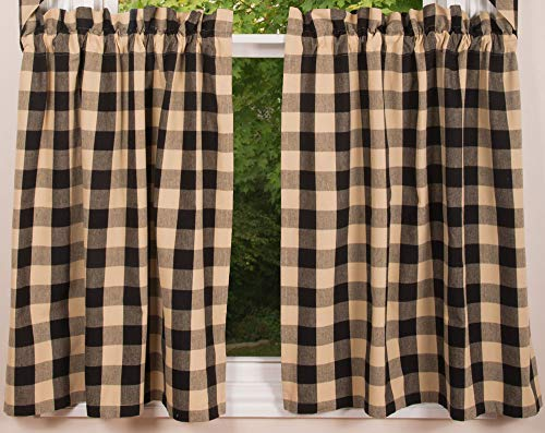 """Buffalo Check Black and Tan 72"""" x 36"""" Unlined Cotton Curtain Curtain Tiers by Primitive Home Decors"""