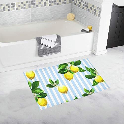 YXUAOQ Citrus On Striped Custom rutschfeste Badematte Teppich Bad Fußmatte Boden Teppich für Badezimmer 20 X 32 Zoll