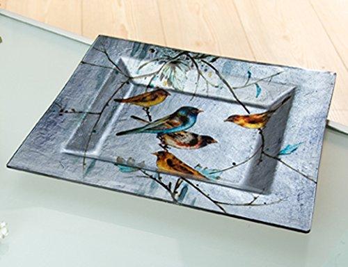Teller Glas Deko Schale Birdy bunt (G40223) Glasschale Glasteller Dekoschale