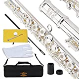 Glory Silver Plated Intermediate 17keys, Open/closed Hole C Flute with B Foot Joint,Offset G, with Case,cleaning Rod, Cloth, Joint Grease, and Gloves