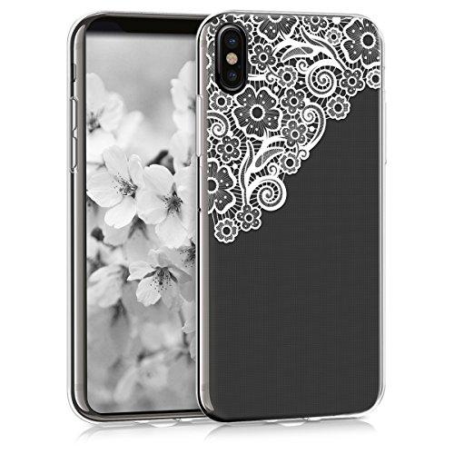 kwmobile Carcasa Compatible con Apple iPhone X - Funda Silicona TPU Trama Floral Blanco/Transparente
