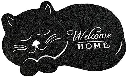 Centeraly Felpudo, Lindo Gato Felpudo Alfombrilla Antideslizante Irregular Animal Impreso Alfombras para Salón Dormitorio Entrada Alfombrilla Baño Cocina Alfombra - Negro, Free Size