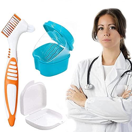 HUYIWEI Prothesendose,3 Stück Prothesenset,Prothesenbox mit Waschkorb,Doppelseitige Falsche Zahnbürste,Tragbare Kleine Prothesendose,Ideal Zum Reinigen und Aufbewahren von Zahnersatz