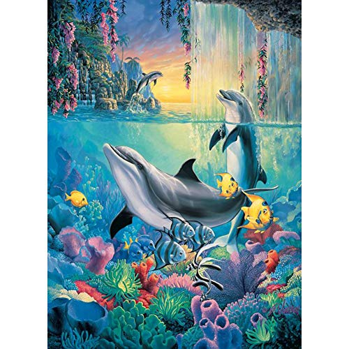 MXJSUA DIY Diamond Painting for Adult Full Square Drill Paint with Diamonds Kits 5D Art for Wall Decor Dolphins 40x50cm/16x20inch