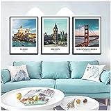 SXXRZA Imagen de póster 3 Piezas 40x60 cm Sin Marco Arquitectura de Referencia mundialmente Famosa San Francisco Venecia Paisaje Póster Imágenes Impresiones Decoración para Sala de Estar