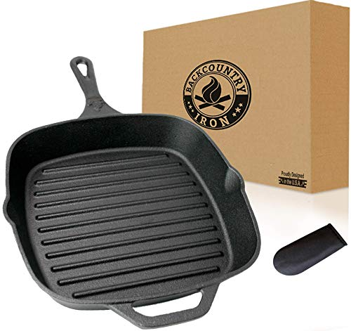 """Backcountry Cast Iron 12"""" Large Square Grill Pan (Pre-Seasoned for Non-Stick Like Surface, Cookware Range / Oven / Broiler / Grill Safe, Kitchen Skillet Restaurant Chef Quality)"""