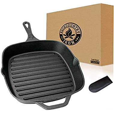 Backcountry Cast Iron 12  Large Square Grill Pan (Pre-Seasoned for Non-Stick Like Surface, Cookware Range/Oven/Broiler/Grill Safe, Kitchen Skillet Restaurant Chef Quality)