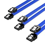 QIVYNSRY 3PACK SATA Cable III 3 Pack 6Gbps Straight HDD SDD Data Cable with Locking Latch 50cm 18 Inch for SATA HDD, SSD, CD Driver, CD Writer, Blue