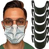 5 pinces de nez anti-buée pour masque noires - Empêche la buée et la vapeur - Résistantes, Inodores, non toxiques et 100% Recyclable - Bande de pont de nez