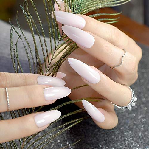 TJJF Pointu Extra Long Faux Mode Rose Plastique Ongles Complets Brillant Conseils De Manucure Avec Autocollant De Colle