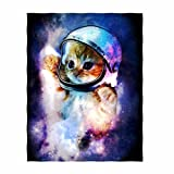 QH Galaxy Cat Printing Velvet Plush Throw Blanket Comfort Design Home Decoration Fleece Blanket Perfect for Couch Sofa or Travelling 58' x 80' (2)
