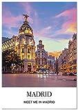 Panorama Poster Stadt von Madrid mit Phrase 50 x 70 cm -