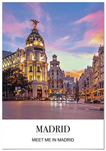 Panorama Póster Ciudad Madrid Mensaje 21 x 30 cm