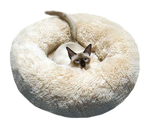 WonderKathy Modern Soft Plush Round Pet Bed for Cats or Small Dogs,...