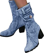 Wadonerful Women Rome Boots Round Toe Thick High Heel Shoes Slip-On Retro Denim Short Boots Party Work Ankle Mid-Boots