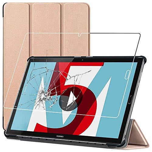 ebestStar - kompatibel mit Huawei MediaPad M5 10.8 Hülle Tablet 10.8 Smart Cover [Ultra Dünn] Schutzhülle Etui Ständer Hülle, Gold + Panzerglas Schutzfolie [M5 10.8: 258.7 x 171.8 x 7.3mm, 10.8'']