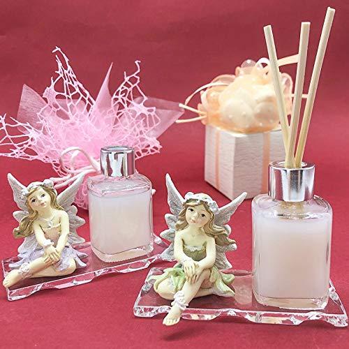 Ingrosso e Risparmio Vaso para perfumes de cristal con botella para esencias y figura con forma de hada, ideal como recuerdo de comunión o niña (con esencia y caja Tiffany)