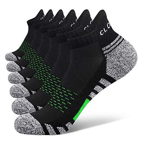 Closemate 6 Paar Sneaker Socken Herren Damen Gepolsterte Laufsocken Baumwolle Atmungsaktiv Sportsocken für Fitness im Freien (6Grün, 38-43)