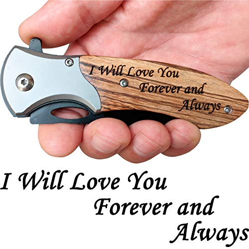 Lowest Prices! Engraved Pocket Knife for Men Tactical Knife with Clip for Hunting or Fishing Men Val...