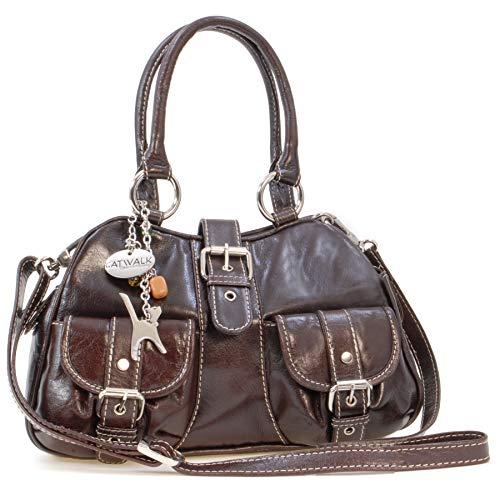 Catwalk Collection Handbags - Leder - Umhängetasche/Henkeltasche - Handtasche mit Schultergurt/Schultertasche - FAITH - Braun
