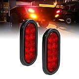 2pc 6' Red Oval LED Trailer Tail Light Kit [DOT FMVSS 108] [SAE S2TSI6P2] [Grommet & Plug Included] [IP67 Waterproof] [Stop Turn Tail] Trailer Brake Lights for Boat Trailer RV Trucks