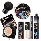 Leeofty Set de maquillaje profesional Set-Powder BB Cream Lipstick Corrector Mascara Eyeliner Kit 5pcs Base Makeup Kit