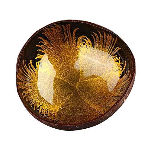 SunYueY Cuenco de coco natural hecho a mano con recipiente pulido para almacenamiento de llaves, caramelos, almacenamiento de alimentos, decoración del hogar, color dorado