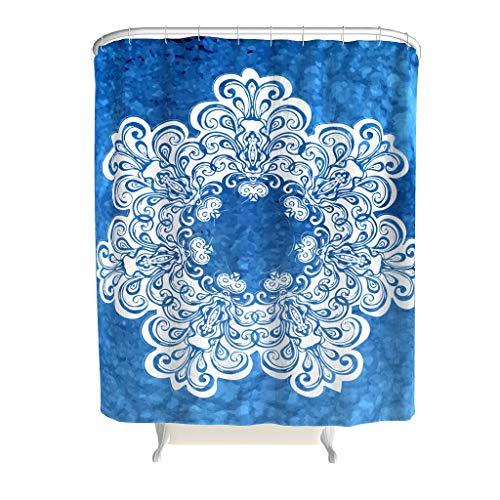 Charzee douchegordijn met mandala-patroon, hoogwaardige kwaliteit, stof, douchegordijn, blauw, badkamergordijn voor badkamer, badkuip, 150 x 200 cm
