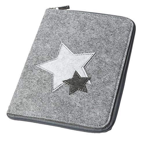 Mom's Organizer 'Sterne' mit rundum Reißverschluss für Mutterpass & U-Heft grau, Farbe wählbar) | Filz Hülle in A5 als Uheft- und Mutterpasshülle